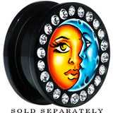 Black Acrylic Celestial Sun and Moon Gem Screw Fit Plug
