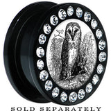 Black Acrylic Black White Owl Gem Screw Fit Plug