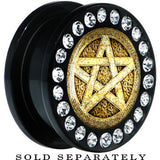 Black Acrylic Black White Pagan Star Gem Screw Fit Plug