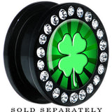 Lucky Four Leaf Clover Gem Screw Fit Plug
