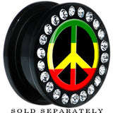 Black Acrylic Rasta Peace Sign Gem Screw Fit Plug