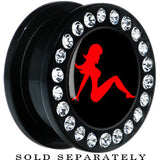 Black Acrylic Black Red Mud Flap Girl Gem Screw Fit Plug