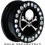 Black Acrylic Black White Skull and Crossbones Gem Screw Fit Plug
