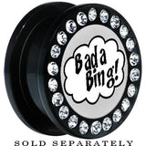 Black Acrylic Gem Retro Comic Bada Bing Screw Fit Plug