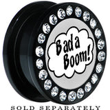Black Acrylic Gem Retro Comic Bada Boom Screw Fit Plug