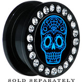 Black Acrylic Gem Blue Sugar Skull Art Screw Fit Plug