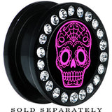 Black Acrylic Gem Pink Sugar Skull Art Screw Fit Plug