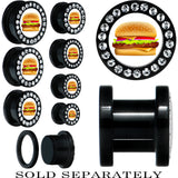 Black Acrylic Gem Hot Hamburger Screw Fit Plug