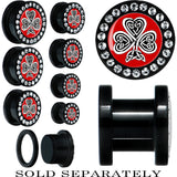 Black Acrylic Celtic Knot Clover Gem Screw Fit Plug
