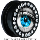 Black Acrylic Aqua Sky Human Eye Gem Screw Fit Plug