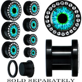 Black Acrylic Human Eye Aqua Explosion Gem Screw Fit Plug