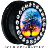 Black Acrylic Sunset Tree Branching Out Gem Screw Fit Plug