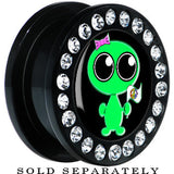 Black Acrylic Come in Peace Alien Gem Screw Fit Plug