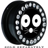 Black Acrylic Monochrome Cat Face Whiskers Gem Screw Fit Plug