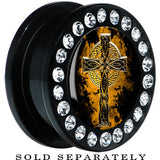 Black Acrylic Aged Celtic Cross Gem Screw Fit Plug