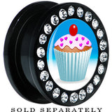 Black Acrylic Heart Sprinkled Frosted Cupcake Gem Screw Fit Plug