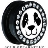 Black Acrylic Panda Bear Face Gem Screw Fit Plug