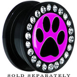 Black Acrylic Fuchsia Black Paw Print Gem Screw Fit Plug