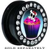 Black Acrylic Skull and Bones Cupcake Gem Screw Fit Plug
