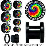 Black Acrylic Tie-Dyed Gem Screw Fit Plug