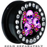 Black Acrylic Floral Three Skulls Gem Screw Fit Plug