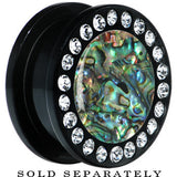 Black Acrylic Paua Shell Gem Screw Fit Plug