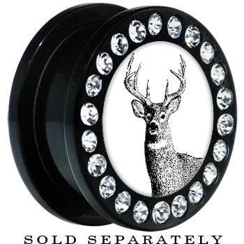 Black Acrylic Monochrome Deer Buck Gem Screw Fit Plug