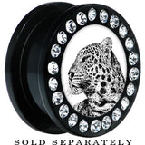 Black Acrylic Cheetah Tiger Gem Screw Fit Plug