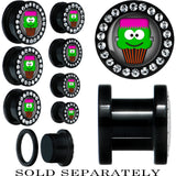 Black Acrylic Cupcake Franken Monster Screw Fit Plug