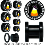 Black Acrylic Witch Hat Candy Corn Screw Fit Plug