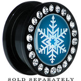 Black Acrylic Blue Holiday Snowflake Gem Screw Fit Plug