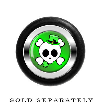 Green St. Patty's Skull and Crossbones Cheater Plug