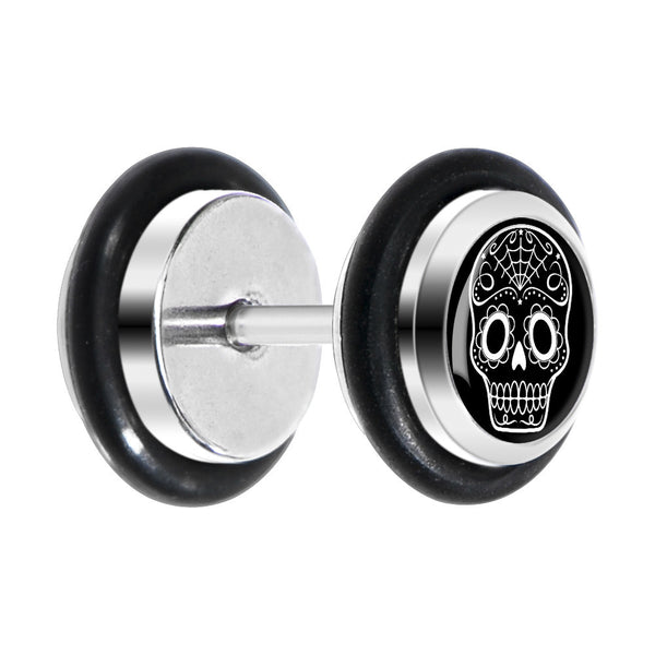 Black White Sugar Skull Art Cheater Plug