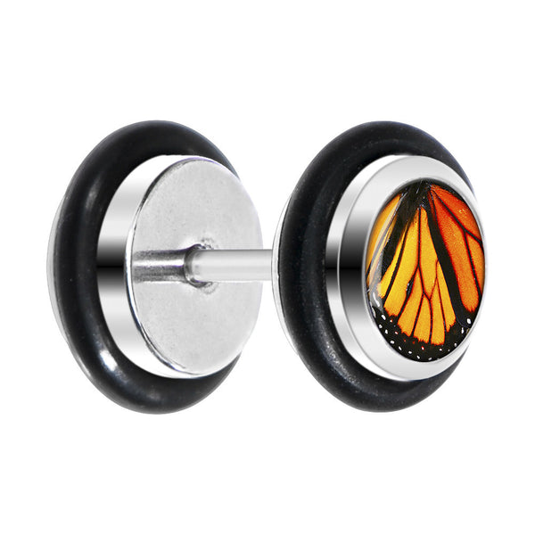 Black Monarch Butterfly Wing Cheater Plug