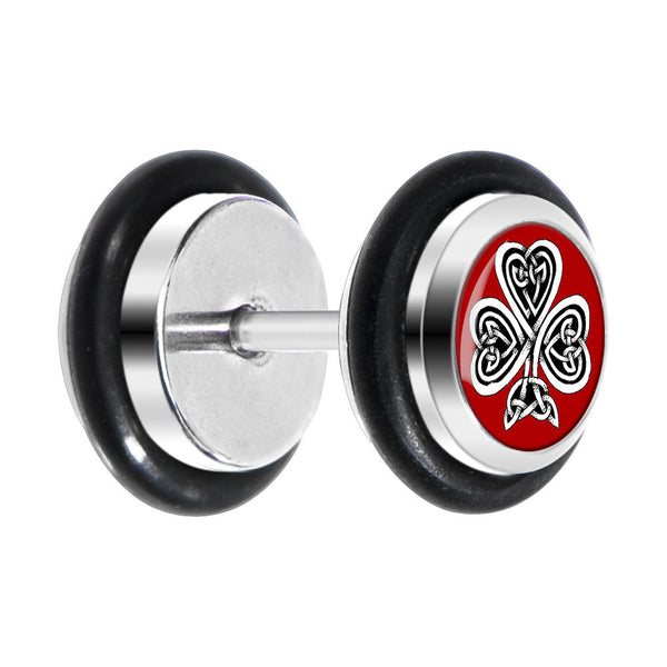 Red Circle Celtic Knot Clover Cheater Plug