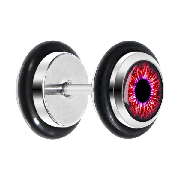Black Human Eye Red Explosion Iris Cheater Plug