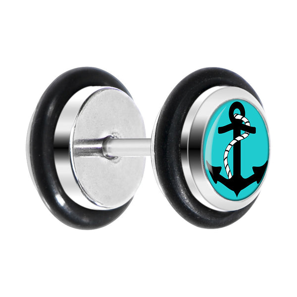 Turquoise Black Anchor Cheater Plug