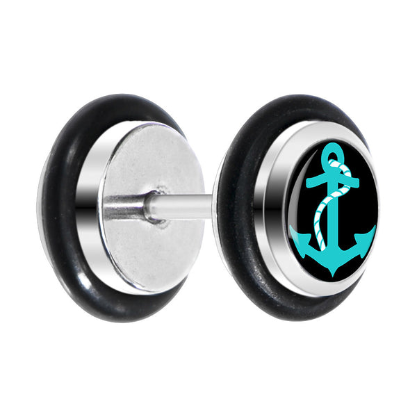 Black Turquoise Anchor Cheater Plug