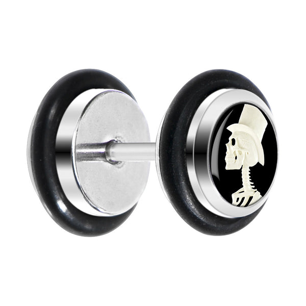 White Top Hat Skeleton Cameo Cheater Plug