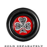 Black Red Circle Celtic Knot Clover Cheater Plug
