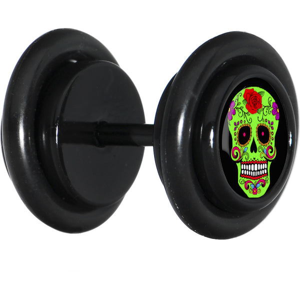 Black Green Sugar Skull Cheater Plug