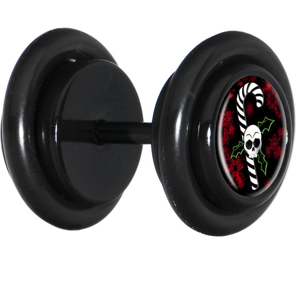 Black Christmas Skull Holly Candy Cane Cheater Plug
