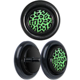 Black Anodized Leopard Print Glow in the Dark Cheater Plug