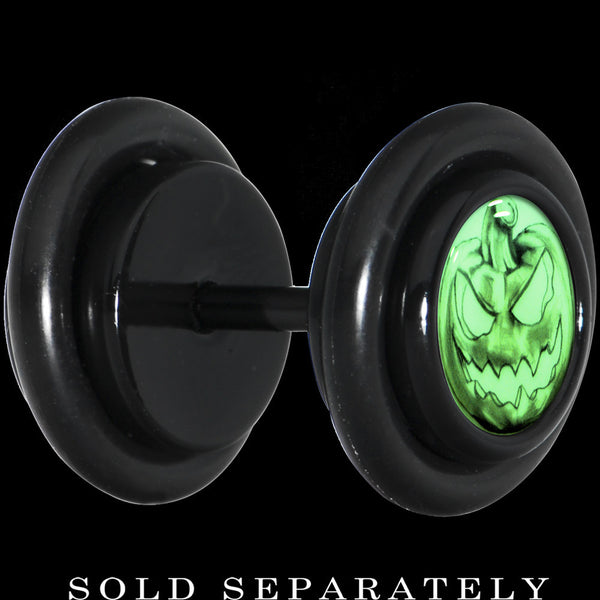 Black Titanium Bad Jack O' Lantern Glow in the Dark Cheater Plug