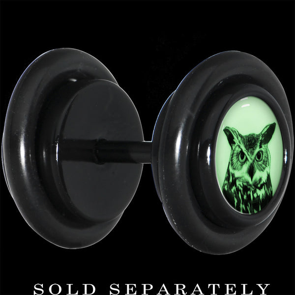 Black Titanium Arty Horned Owl Glow in the Dark Cheater Plug