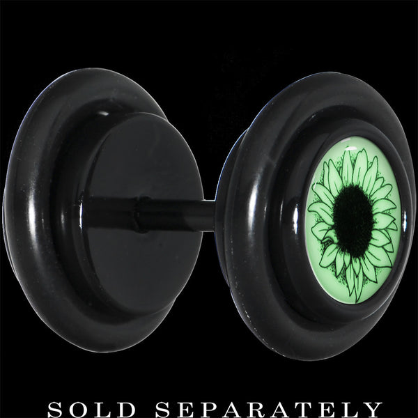 Black Titanium Arty Sunflower Glow in the Dark Cheater Plug
