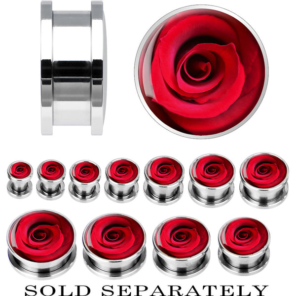 Steel Close Up Red Rose Screw Fit Plug