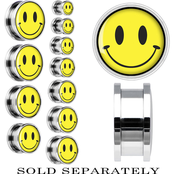 Steel Yellow Smiley Face Screw Fit Plug