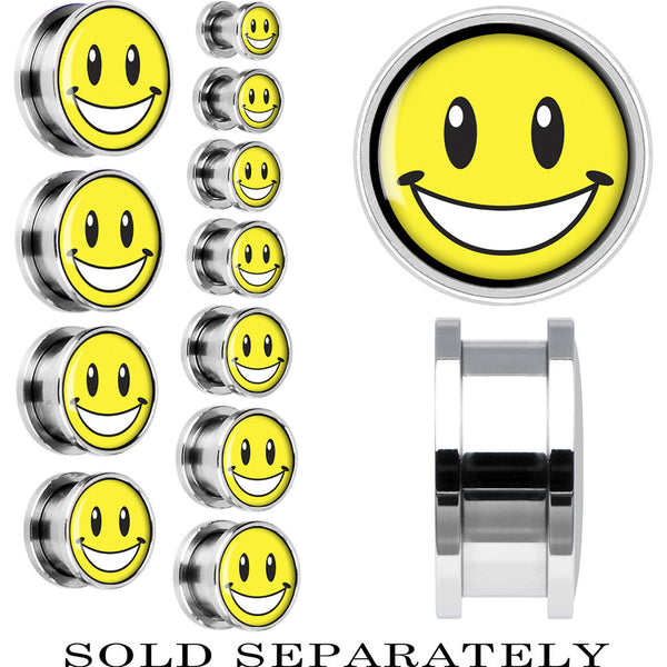 Steel Pearly White Smiley Face Screw Fit Plug