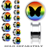 Steel Rainbow Butterfly Screw Fit Plug